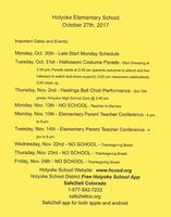 October Newsletter Holyoke Elementary 2017