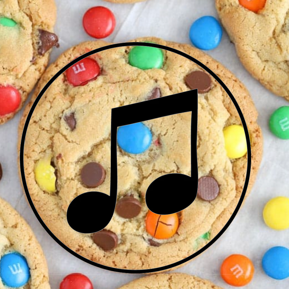 Music note super imposed on a M&M Cookie