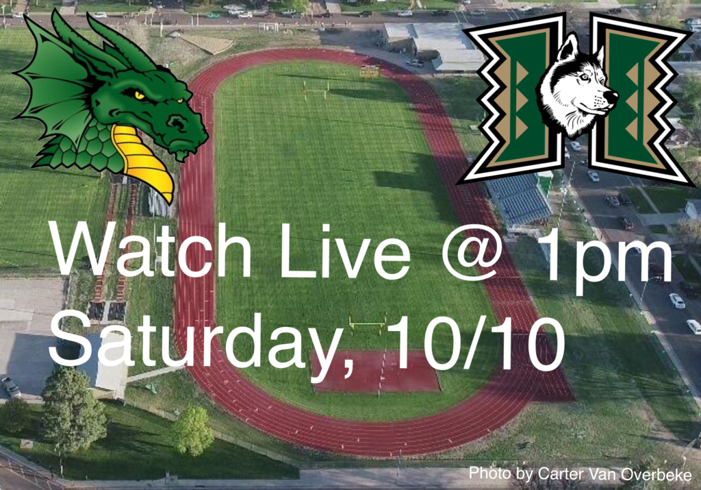 "Dragon and dog inside and H superimposed on a football field with the captions saying ""watch live at 1pm Saturday"""
