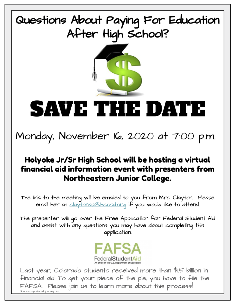 Save the Date for College funding flyer