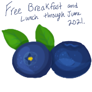 2 blueberries with caption saying free breakfast and lunch through June 2021