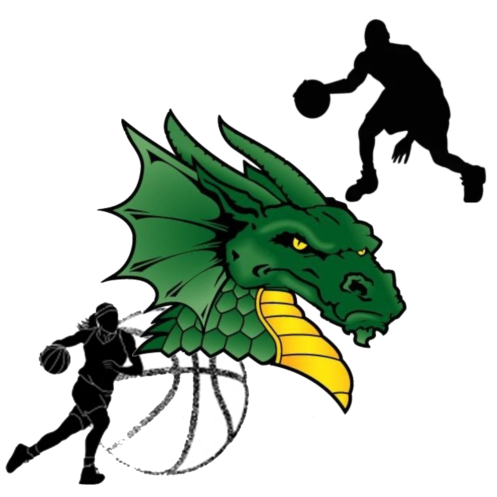 Holyoke Dragon Logo with Basketball Players