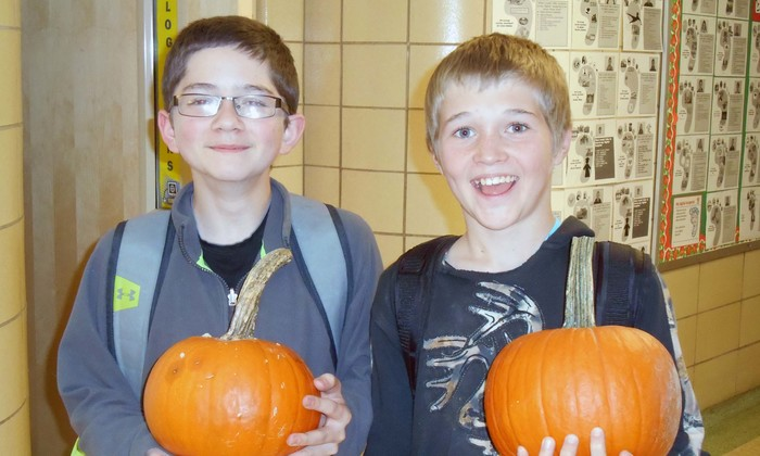Luke & Tyler with pumpkins