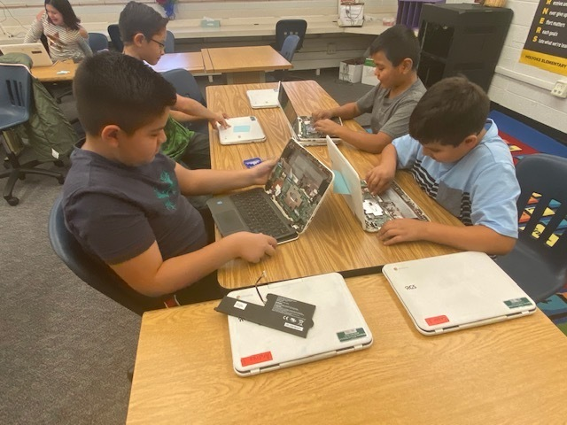 Students working on Chromebooks