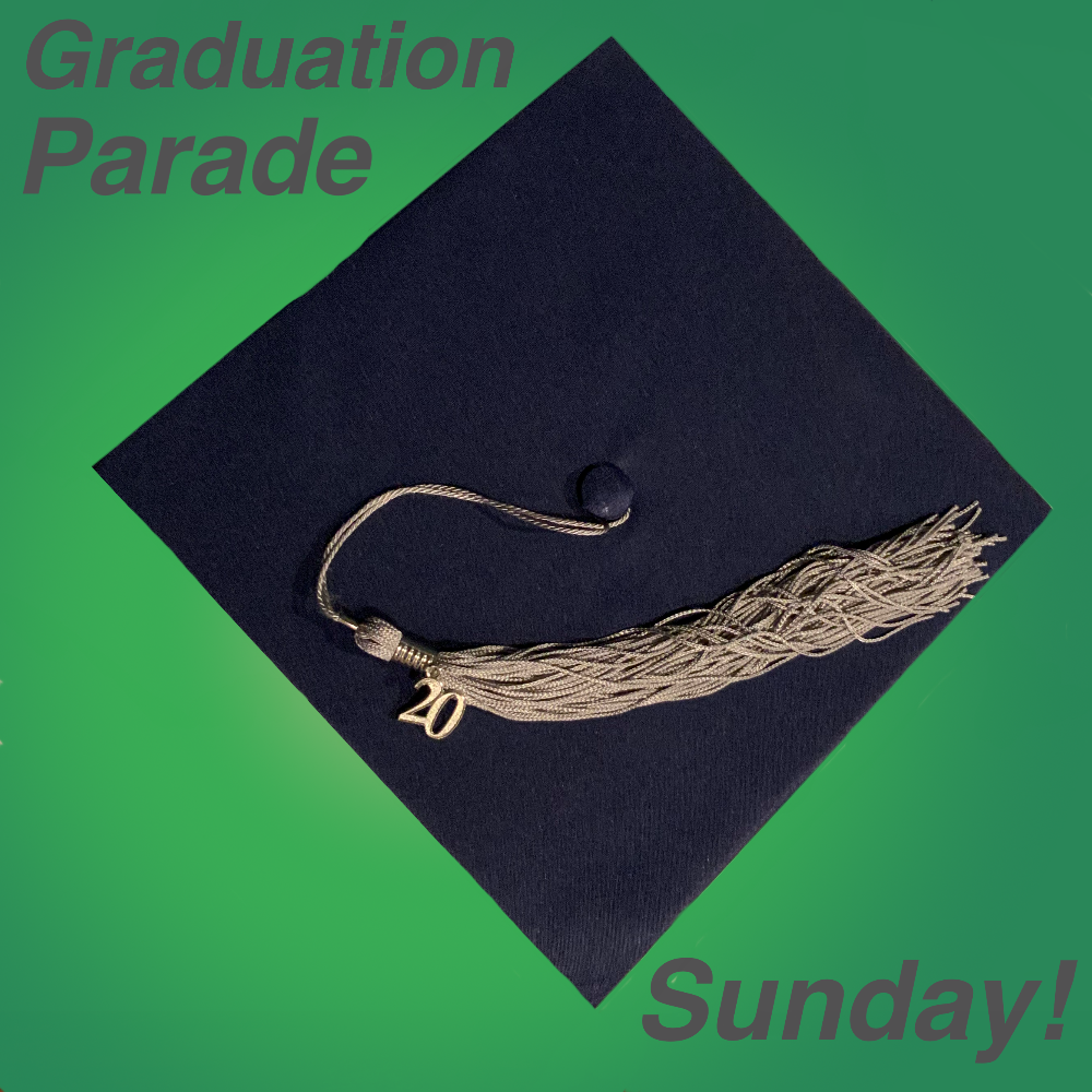 Graduation cap on green background tassel has a number 20