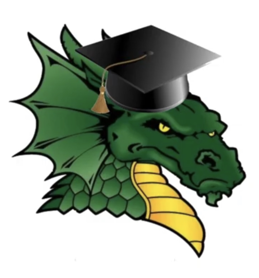 Dragon logo with graduation hat