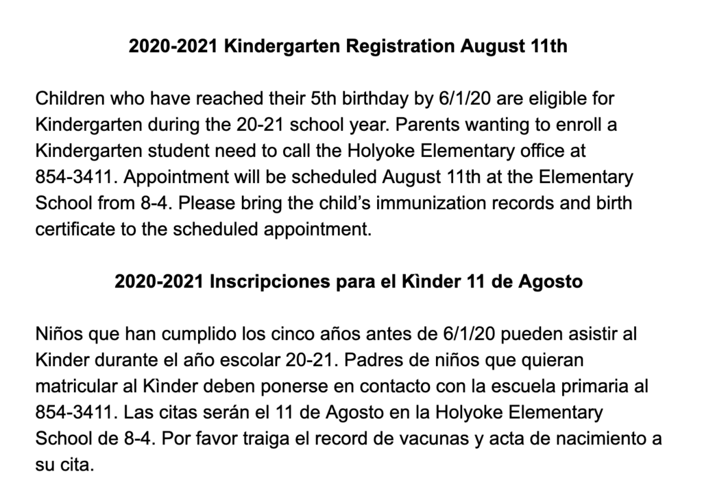 Details about kinder registration.