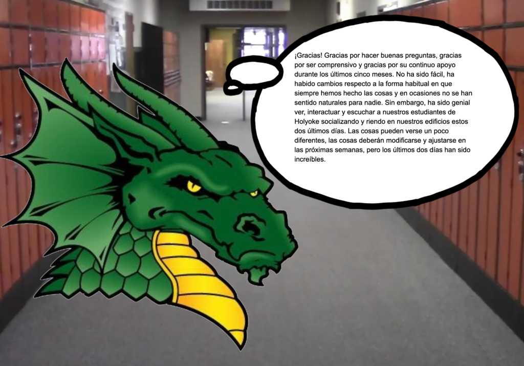 Dragon saying thank you in Spanish